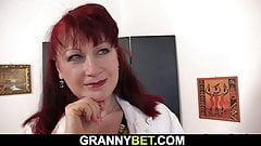 Hot grandma gets naked and rides his meat