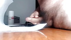 Uncut Daddy has quick stroke and cum