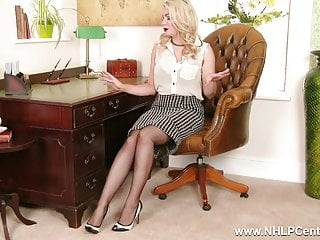 Retro big tit blond - Busty blonde strips down to lingerie sheer vintage nylons