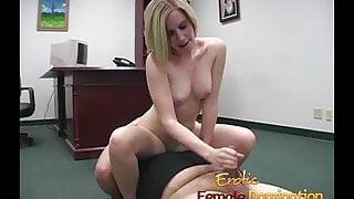 Blonde office slut dominates her future boss's cock until he