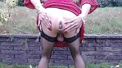 Sissy playing with pussy outdoor