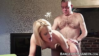 Lucky grandpa tastes and fucks sweet young pussy