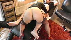 Gorgeous blonde milf works husbands cock
