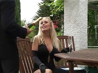 Vintage outdoor patio furniture British slut gets fucked up the arse on the garden furniture