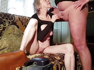 Young gay rusian boy Rusian gray-haired skinny granny husband always cums on tits