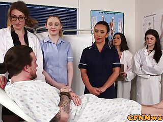 Doctor gets dick sucked - Dominant nurses sucking naked patients dick