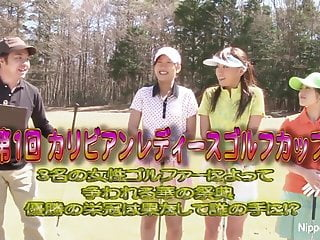 Nude women playing golf Three asian babes play a game of strip golf