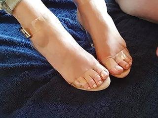 Cock thief on her toe Creamy cum on her open toe heels
