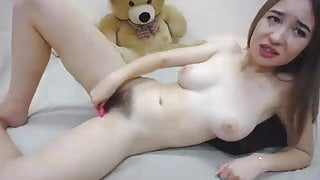Slut shows her hairy pussy