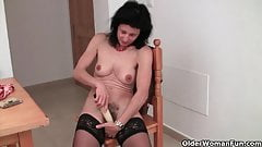 Hairy granny Emanuelle in black stockings