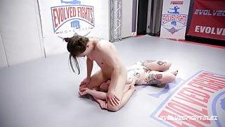 Cheyenne Jewel wrestles Kaiia Eve with lesbian face sitting