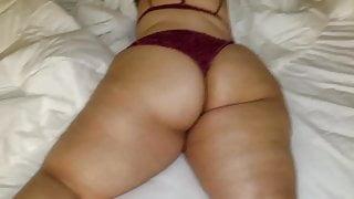 Big Latina booty in purple panties