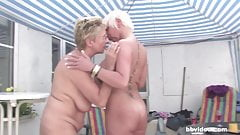 German mature lesbians having an outdoor party