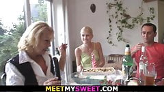 His old parents fuck blonde teen at her birthday