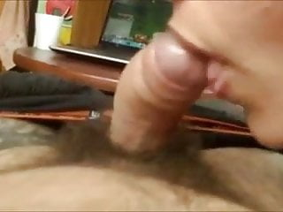 Taste sperm in milk Nice cock head sucking and licking with sperm tasting