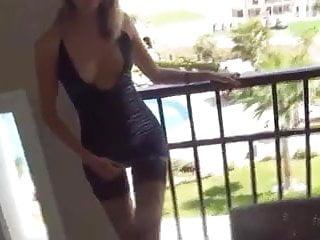 Naked on balcony tubes - Wife assfuck on balcony