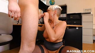 Trashy blonde milf fucking a stud in the office