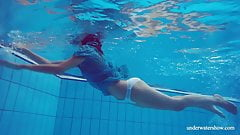 Sexy tight teen Marusia swims naked underwater