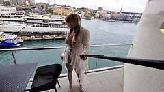 Sissy cumming on very public balcony in Sydney Harbour