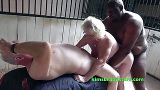 Busty Claire Knight double fucked in the stables
