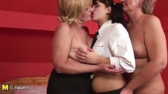 Hot granddaughter fuck two old lesbians