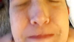 Wife cumshot on face