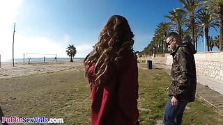 Latina babe publicly sucking dick on beach before doggystyle