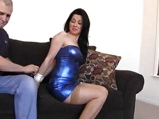 Topless bondage her ankles tied Tied her blue dress