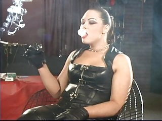 Vintage spike paper holder Sexy leather mistress smoking with holders