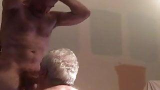 Grandpa on his knees sucking big dick