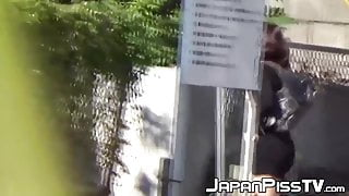 Young Japanese babes secretly peeing all around town