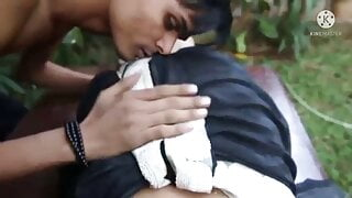Indian hot couple adult movie fuck with home garden