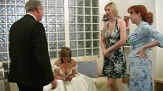 handsome daddy in suit being jerked off on wedding day