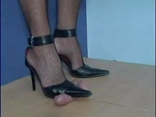 German cock and ball - Cock and ball torture fishnet pumps