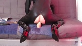 Huge 5 cm anal dildo fuck in catsuit thigh boots + cumshot