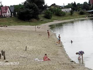 Beach voyeur nudity Ola walking alone naked on a public beach voyeur version