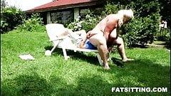 BBW domme Monika facesitting her skinny male slave