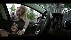 Slut Rubs Stranger's Balls While He Jerks Off In A Car