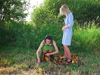 Female model nude photo teen - Two russian tan pantyhose models outdoor photo shoot