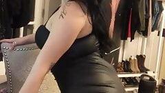 brunette black skirt