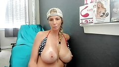 Big titted blonde pumps her pussy