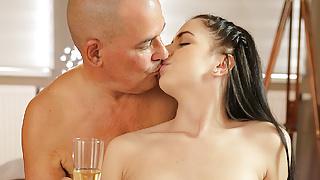 OLD4K. Adorable brunette Kittina Ivory gets banged by old...