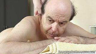 Nubile masseuse riding grandpa cock before eating cum