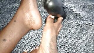 His Queen Suga - Big Feet rubbing on a dick...