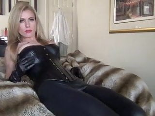 Leather femdom hypnosis - Foot tease in leather leggings and high heels