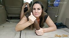 Hubby films wife fucking BBC dildo in public parking lot