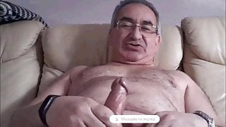 spanish grandpa wanking his big cock