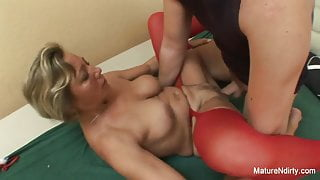 Young man wakes grandma up to fuck her hard