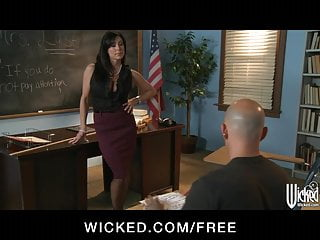 Student class sex - Strict brunette teacher gives punishes her student in class