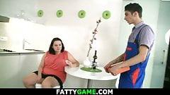 husband Karen Newman Huge boobs fatty seduces him for money suck